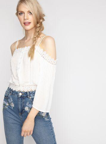 Miss Selfridge Womens Ivory Lace Cold Shoulder Top