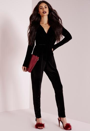 Missguided Velvet Wrap Romper Black