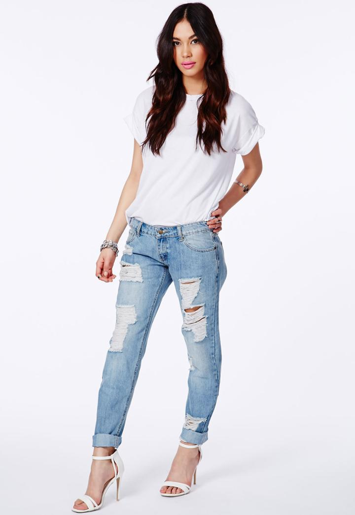 Missguided Ripped Boyfriend Jeans In Light Vintage