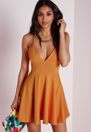 Missguided Strappy Skater Dress Orange