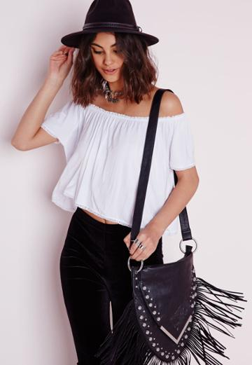 Missguided Jersey Bardot Crop Top White