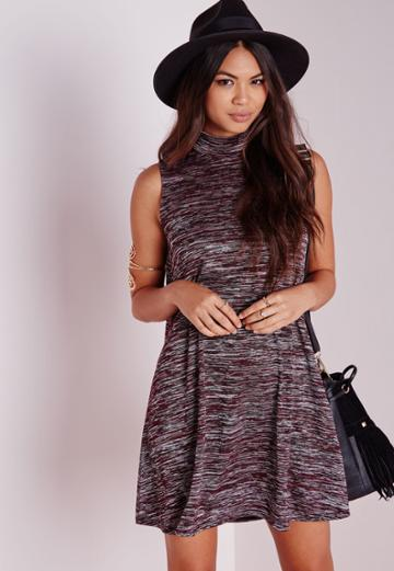 Missguided High Neck Swing Dress Burgundy
