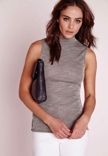 Missguided High Neck Ribbed Top Grey