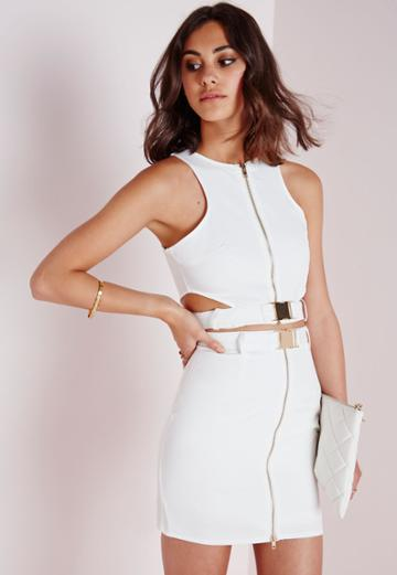 Missguided Buckle Cut Out Crop Top White