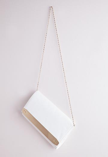 Missguided Gold Bar Clutch Bag White