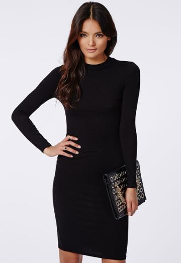 Missguided Black High Neck Bodycon Dress Black