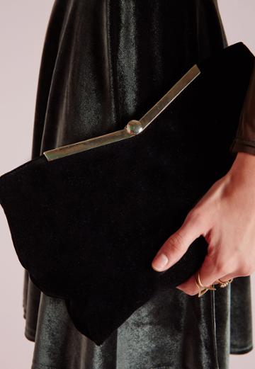 Missguided Velvet Metal Plated Tote Black
