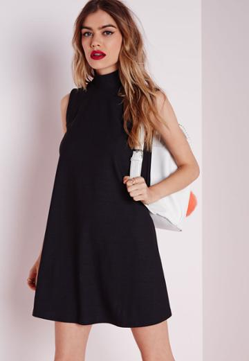 Missguided High Neck Swing Dress Black