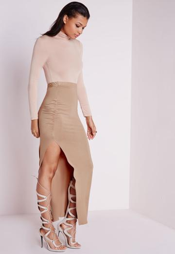 Missguided Ruched Side Split Maxi Skirt Camel