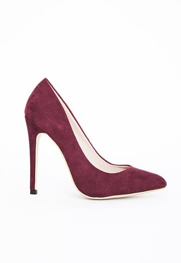 Missguided Pointed Stiletto Court Heels Burgundy Faux Suede