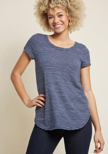 Modcloth Able Staple Knit Top In Navy Stripes In 2x