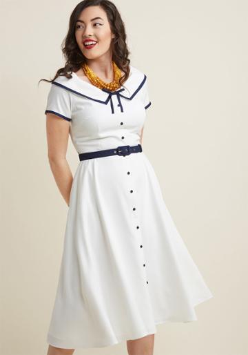Collectif Collectif Nautical Narrative Midi Shirt Dress In 8 (uk)