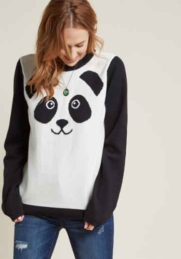 Modcloth Friendly Face Knit Sweater In 4x