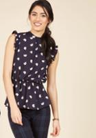 Modcloth Peplum Professional Sleeveless Top In Elephants