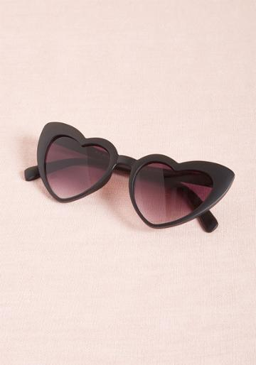 Modcloth Wholeheartedly Darling Sunglasses In Black