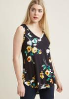 Modcloth Infinite Options Tank Top In Noir Blossoms In S