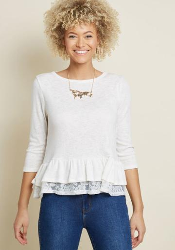 Modcloth Steadily Sweet Long Sleeve Top In Cream In S