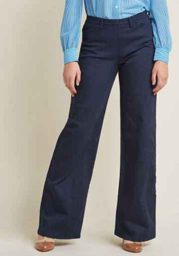 Modcloth Sleek Wide-leg Trousers With Pockets In 2x