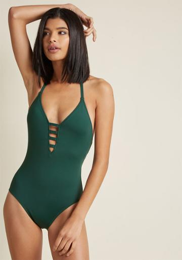 Modcloth Splash It Out One-piece Swimsuit In Pine In 4