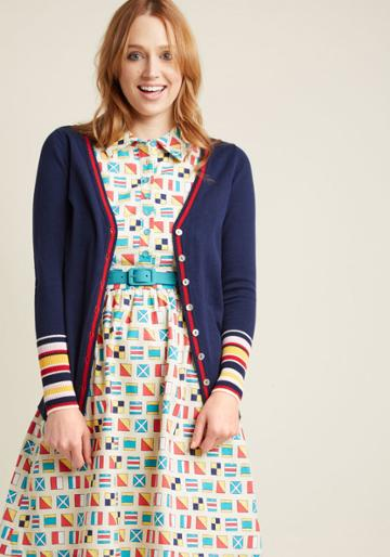 Modcloth Sleeve It To Me Striped Cardigan In Navy In M