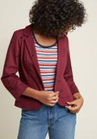 Modcloth Legendary Lifestyle Cotton Blazer In Maroon Cat In 2x