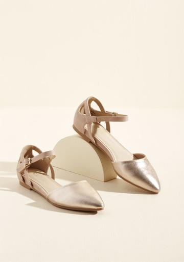 Modcloth Needless To D'orsay Sliver Wedge In Rose Gold In 8