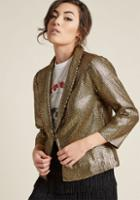 Modcloth Sequin Blazer With Open Front In Xl