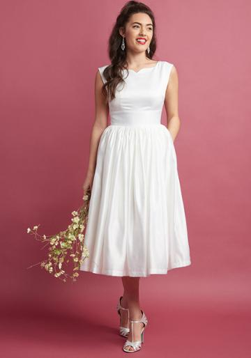Modcloth Fabulous Fit And Flare Dress With Pockets In White In S