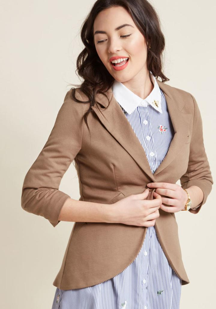 Modcloth Fine And Sandy Blazer In Tan In 4x