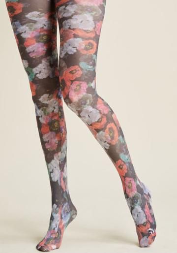 Modcloth Poppy Party Patterned Tights In 3x
