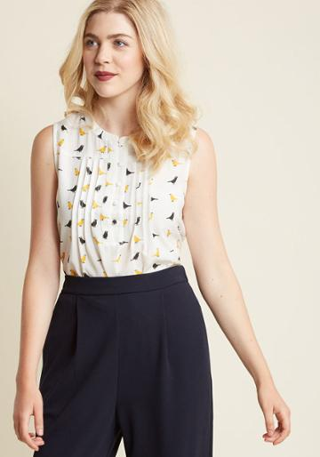Modcloth Freelance For The Taking Sleeveless Top In Birds In Xl