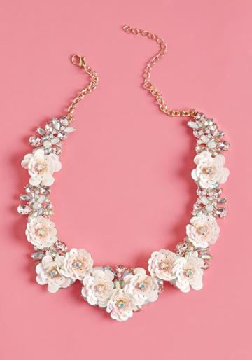V23726nkcrmgld Statement Accessories Don't Get More Fresh Than This Floral Necklace! Glittering With Opalescent Rhinestones, White And Pink Sequins, And Gold Accents, This Lively Adornment Lets Your Look Truly Blossom.