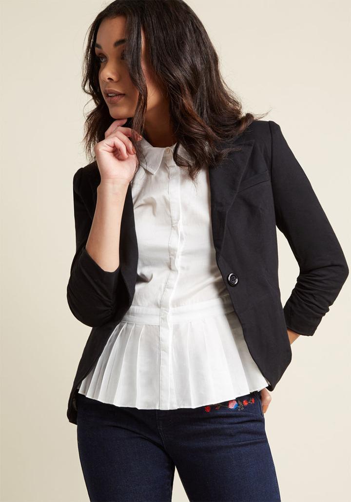 Modcloth Fine And Sandy Blazer In Noir In S