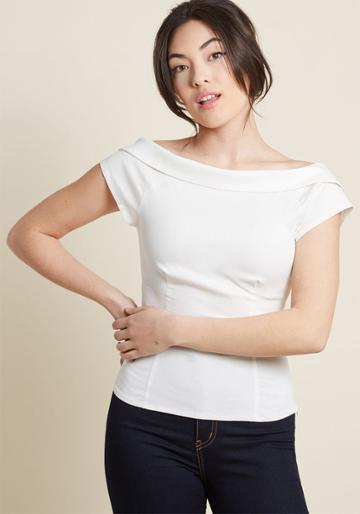 Collectif Collectif Let's Get Groovin' Crop Top In White In 8 (uk)