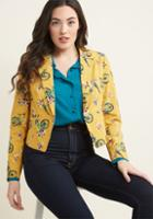 Modcloth Go Global Cotton Blazer In Bicycles In 4x