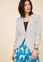 Fine And Sandy Blazer In Dotted White In 3x