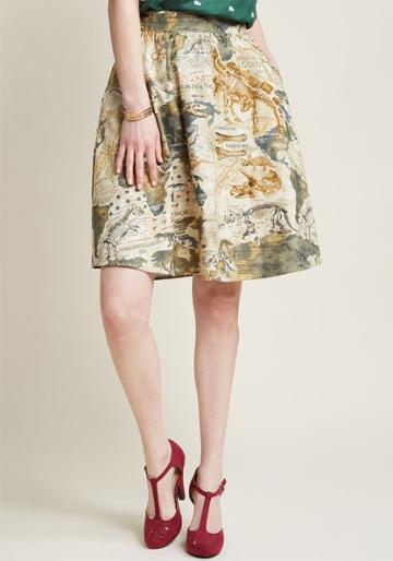 Retrolicious Lively Vibe Cotton A-line Skirt In Dino Map In 2x