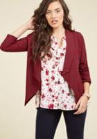 Modcloth Marketing Maven Blazer In Burgundy In 3x