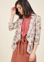 Modcloth Marketing Maven Blazer In Grey Floral In S