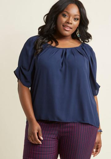 Modcloth Breezy Beauty Short Sleeve Top In Navy In 2x