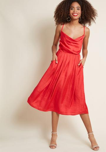 Modcloth Glamorous Guest Midi Dress In Red In 2x