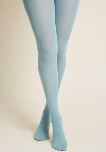 Modcloth Solid Decision Tights In Ice Blue