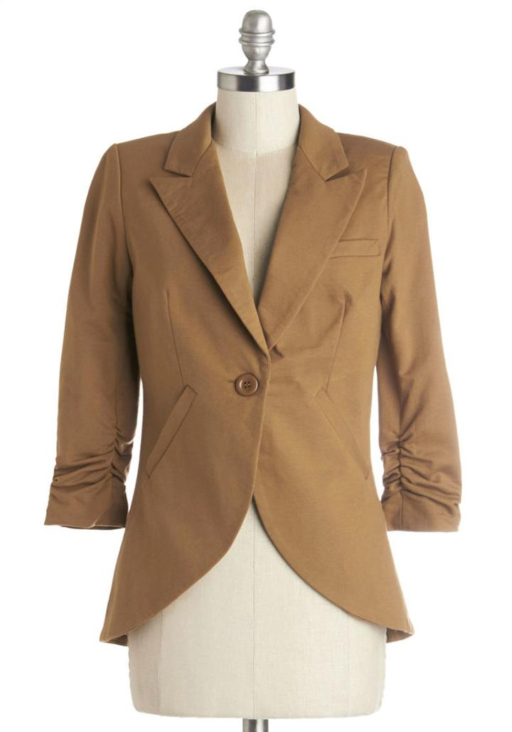 Modcloth Fine And Sandy Blazer In Camel In S