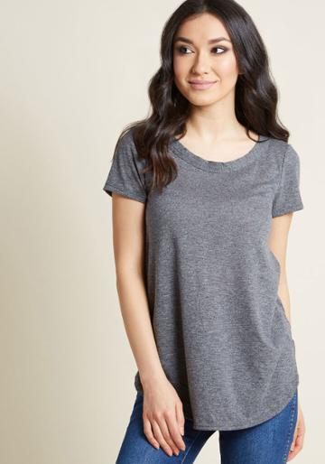 Modcloth Able Staple Knit Top In Heather Grey In 2x
