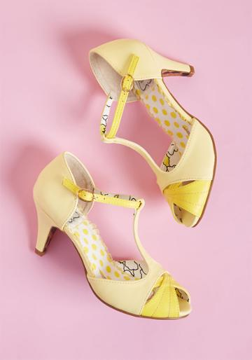 Bettiepage Trademark Gait T-strap Heel In Yellow In 7