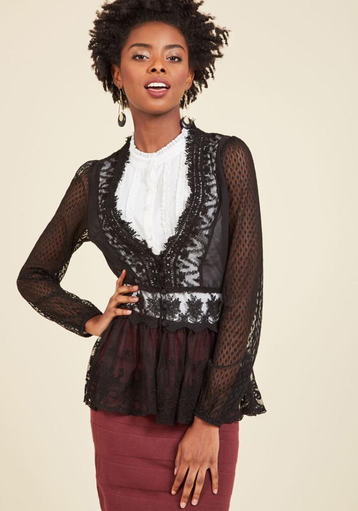 Modcloth Delicate Diner Lace Jacket In Black