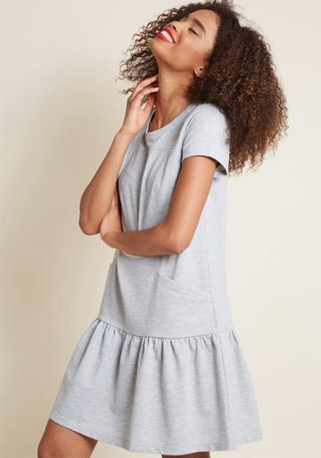 Modcloth Accordingly Casual T-shirt Dress In Grey In 4x