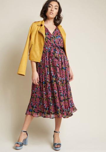 Modcloth Chiffon Midi Dress With All-over Pleats In S