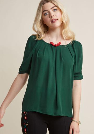 Modcloth Breezy Beauty Short Sleeve Top In Fern In Xl
