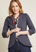 Modcloth Fine And Sandy Blazer In Grey In 3x